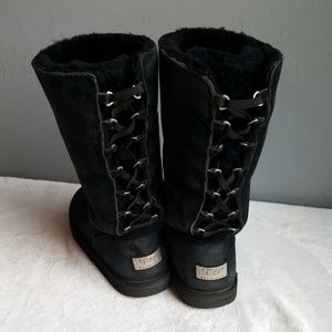 Ugg Lace Up Suede Leather Sheepskin Boots